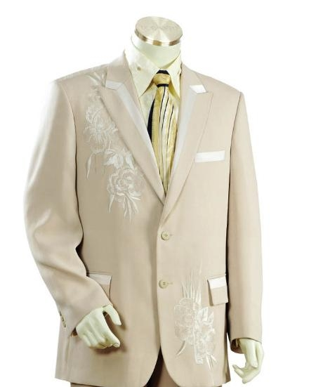SKU#JH1451 Mens Two Button Suits Taupe $149