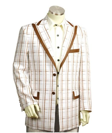 SKU#EF5465 Men's Two Button Trimmed Two Tone Blazer/Suit/Tuxedo White Coffee