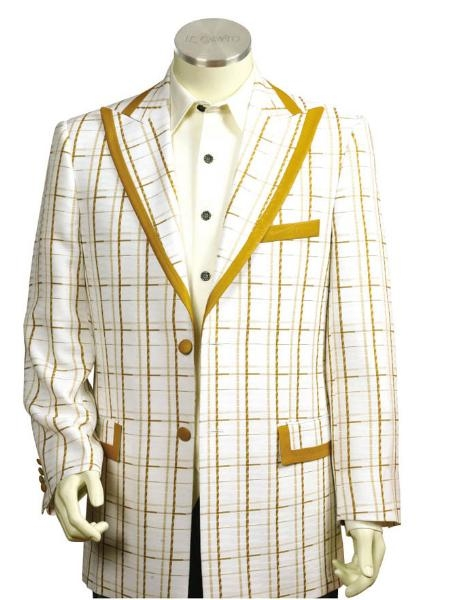 SKU#JG5642 Mens Two Button Trimmed Two Tone Blazer/Suit/Tuxedo White Gold