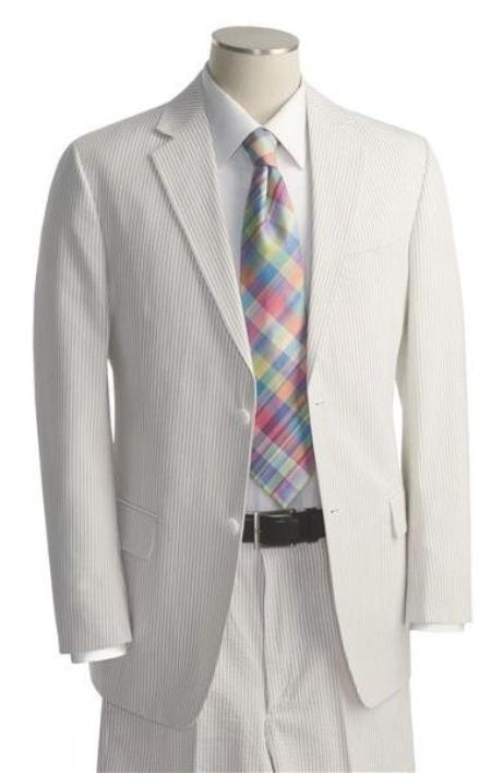 SKU#HK2911 Mens Two Button Vented Light Blue ~ Sky Blue Seersucker Suit (Jacket + Pants)