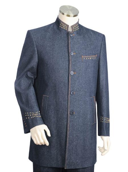 SKU#MM2165 Mens Two Button suit style comes in LightSlateGray $175