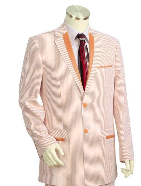 SKU#LP1215 Mens Two Buttons Seersucker Style comes in Burned Orange $149
