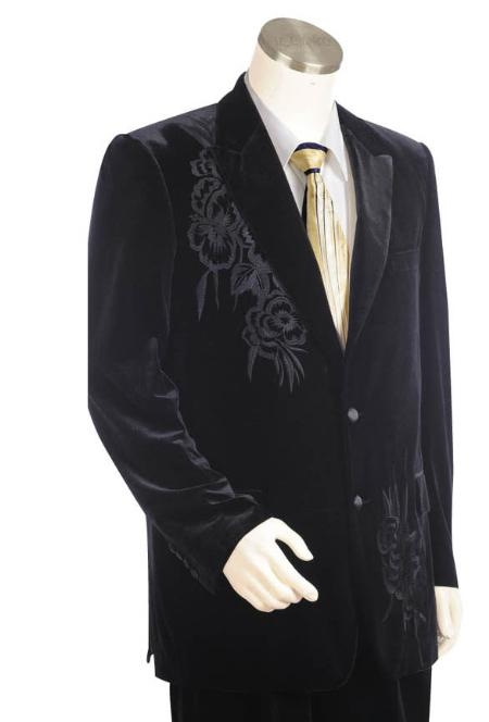SKU#IK1475 Mens Two Buttons Suit Style Comes In Black Velvet Velour with pattern Peak Lapel Pleated Pants