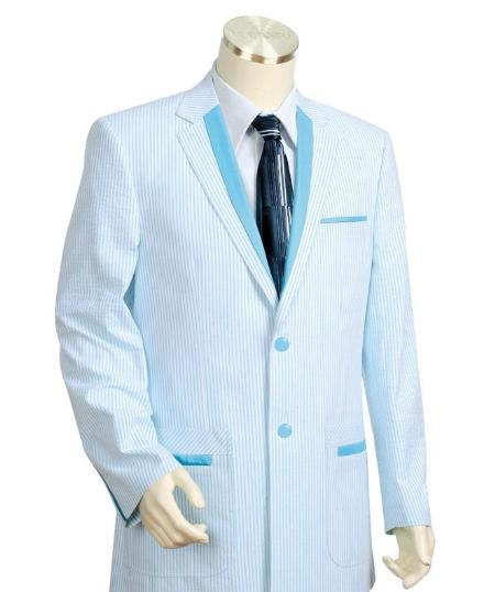 SKU#HG4487 Mens Two Buttons Seersucker Style comes in Turquoise White $149