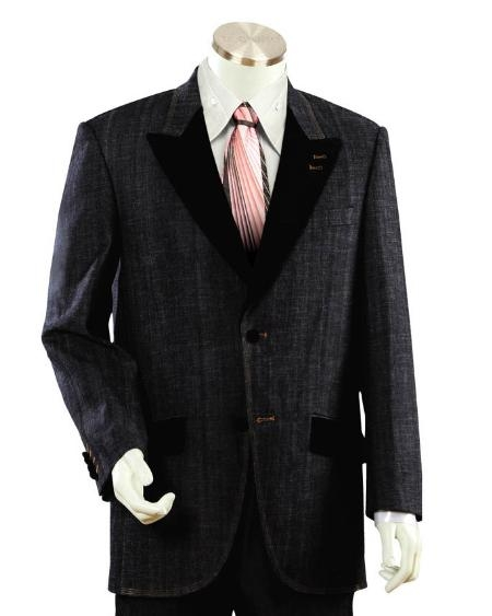 SKU#DU2455 Mens Two Buttons Style comes in Black Trimmed Two Tone Blazer/Suit/Tuxedo $199
