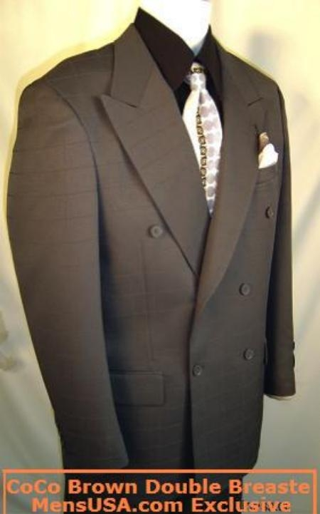 SKU# PIQ755 MensUSA Collection Dark Brown Super 120s Wool Double Breasted Business Dress Italian Suit $149