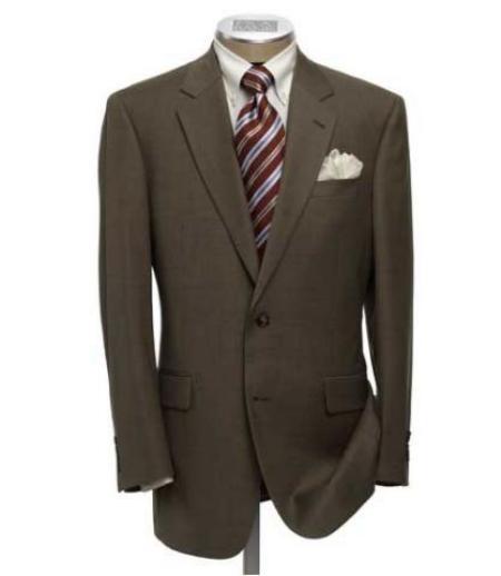 SKU# km159i MensUSA.com Exclusive Mens Dark Brown 2 Button Super Dress Wool $139