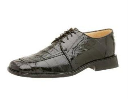 Belvedere Mens Vasco Oxford Made of Eel and Crocodile Black $295