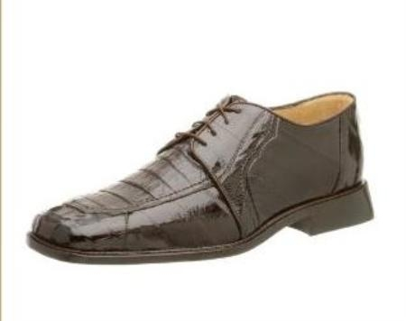 Belvedere Mens Vasco Oxford Made of Eel and Crocodile Brown $295