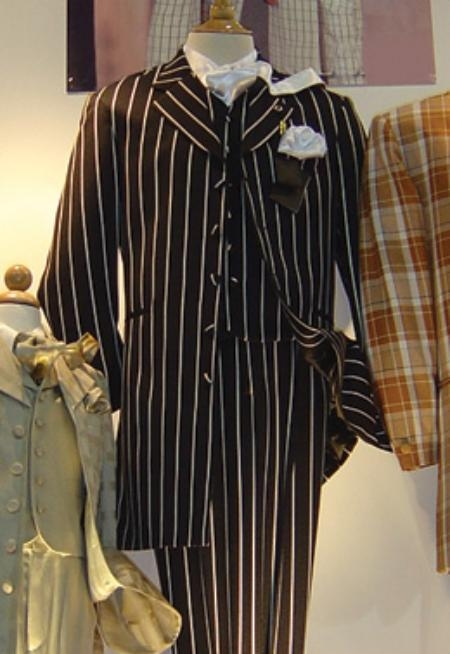 SKU#TLC345 Mens Vested Black & White Pinstripe Fashion Zoot Suit