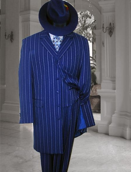 SKU#MUM044 Mens Vested Royal Blue & Bold Pronounce White Pinstripe Fashion Zoot Suit $179