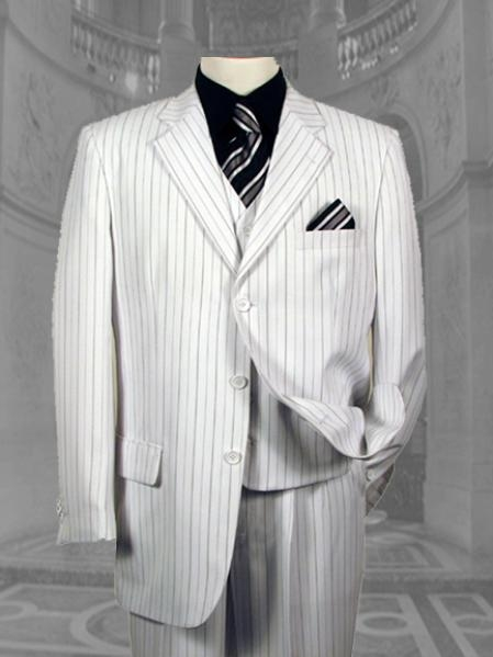 SKU# EYL923 Mens White & Black Pinstripe 3 Button Dress Fashion Suits $795