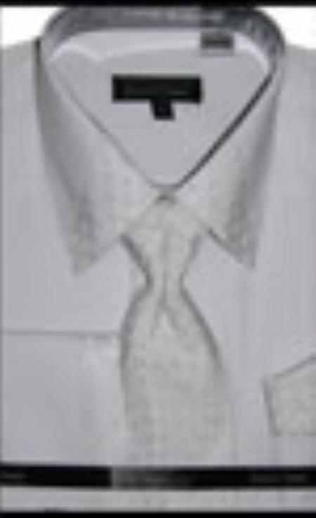 SKU#WH6782 Mens White French Cuff Dress Shirt with Matching Tie and Hanky $65