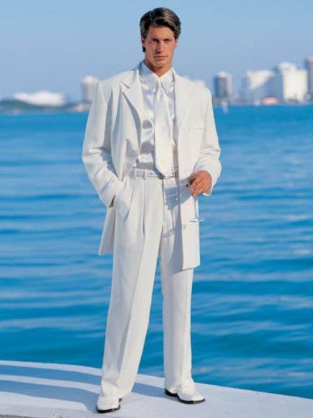 SKU#VT05 Mens White Jacket + Pants ) In 4/5/7 Buttons Style