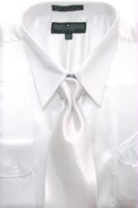 SKU#AK124 Mens White Shiny Silky Satin Dress Shirt/Tie