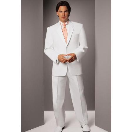 SKU#DK775 Men's White Two Button Notch Tuxedo