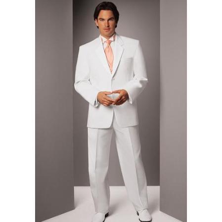 SKU#DK775 Mens White Two Button Notch Tuxedo $189