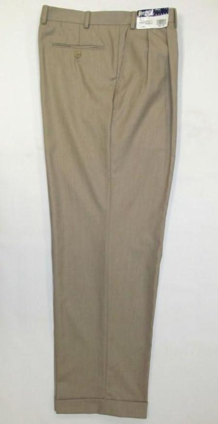SKU#LD12 long rise big leg slacks Mens Wide Leg Triple Pleat Pant Toast~Light Mocca Color 22- Inch\