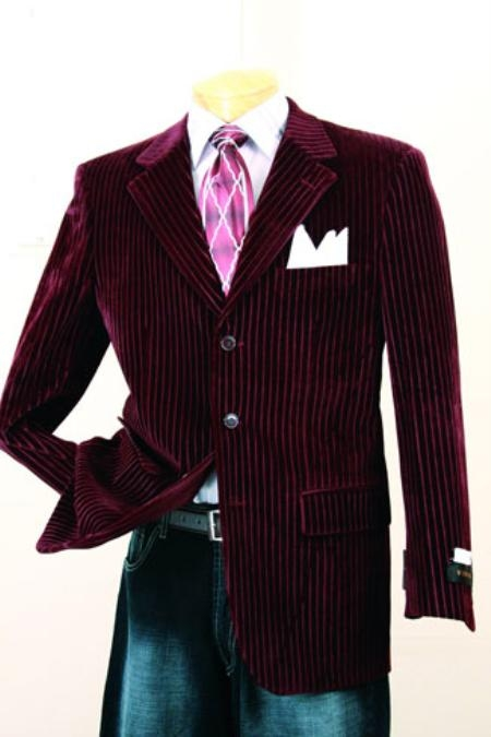 SKU#QM396 Mens Wine Color Fashion Sport Coat $99