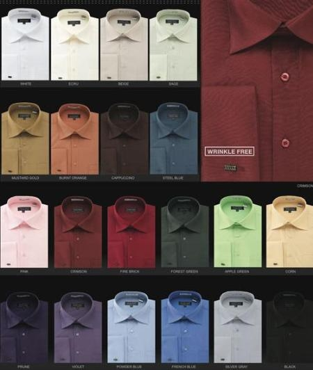 SKU#dn32m Mens Wrinkle Free French Cuff Dress Shirt Spread Collar $49