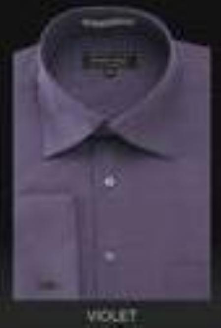 SKU#dn32m Mens Wrinkle Free French Cuff Light Purple~Violate Dress Shirt Spread Collar $29