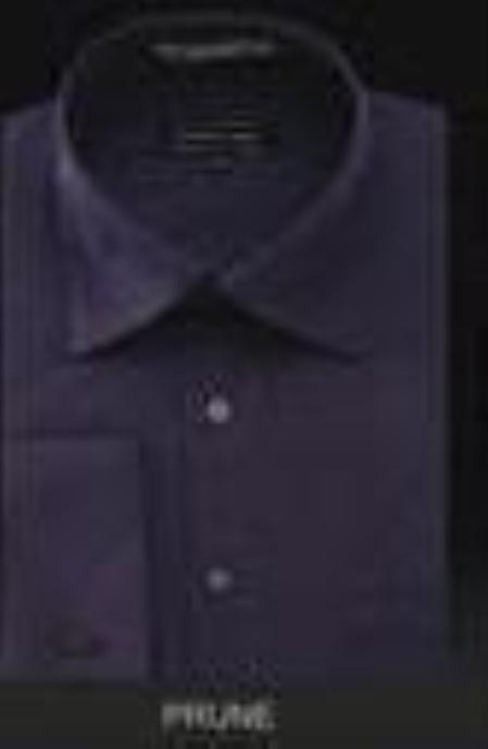 SKU#dn32m Mens Wrinkle Free French Cuff Dark Deep Purple~ Dress Shirt Spread Collar $49