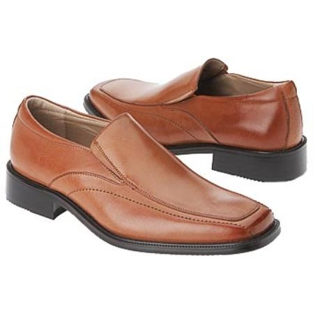 SKU# LVP441 Mens Z30016 Tan Smooth solid or burnished leather upper in a dress slip on loafer style