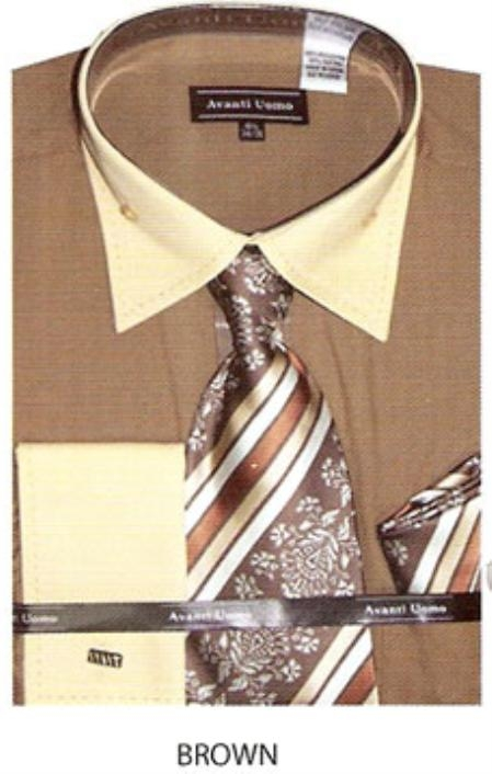 SKU#AJ544 Mens button down & stitched french cuff dress shirt Brown $65