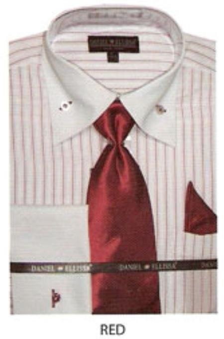 SKU#ZC534 Mens button down striped french cuff dress shirt Red $65