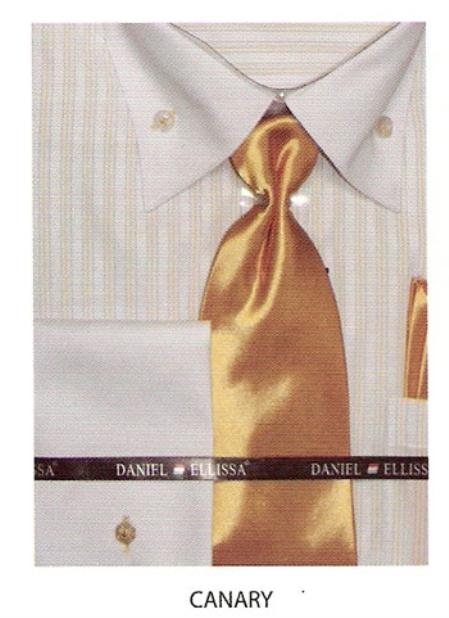 SKU#TC534 Mens button down striped french cuff dress shirt Canary $65