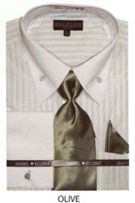 SKU#ZH542 Mens button down striped french cuff dress shirt Olive $65
