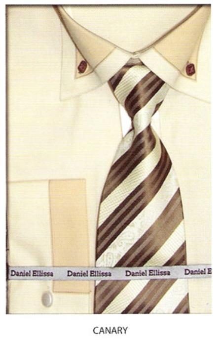 SKU#EM534 Mens button down two tone french cuff dress shirt Canary $65