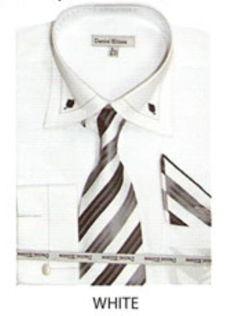 SKU#BZ510 Mens button down two tone french cuff dress shirt White $65