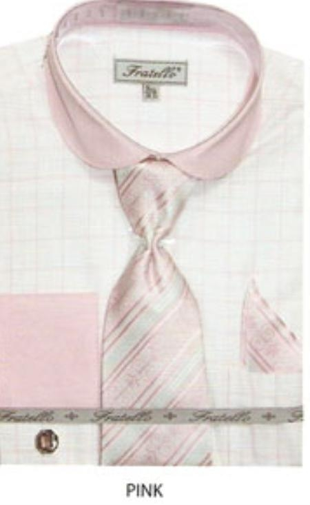 SKU#RC630 Mens french cuff dress shirt with rounded collar Pink $65