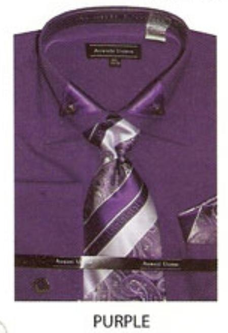 SKU#AK652 Mens french cuff dress shirt with triangular collar design Purple $65