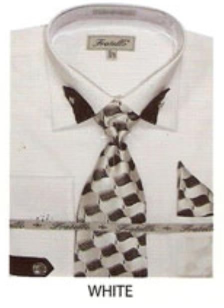 SKU#EE854 Mens french cuff shirt patched on collar and sleeves White $65