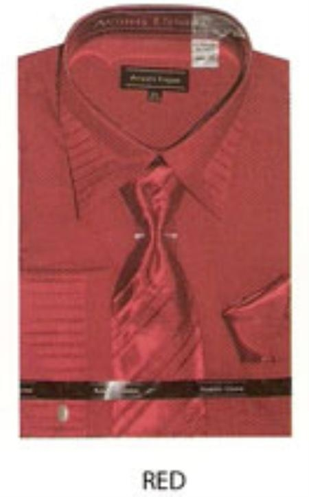 SKU#AZ900 Mens french cuff shirt pleated on collar and sleeves Red $65