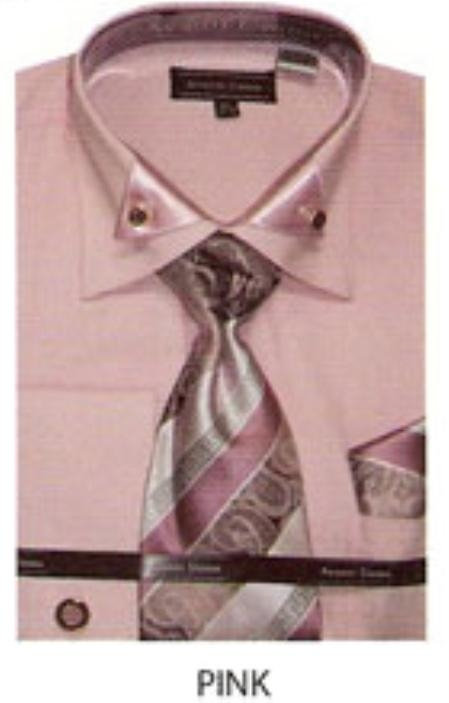 SKU#QM691 Mens french cuff dress shirt with triangular collar design Pink $65