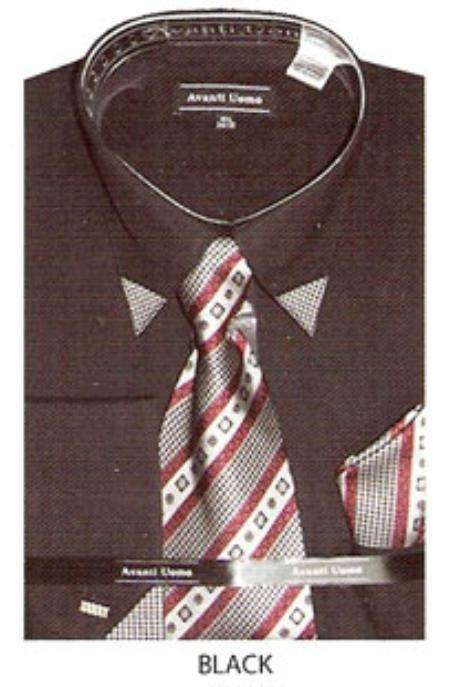 SKU#MK408 Mens patched french cuff dress shirt with matching tie Black $65