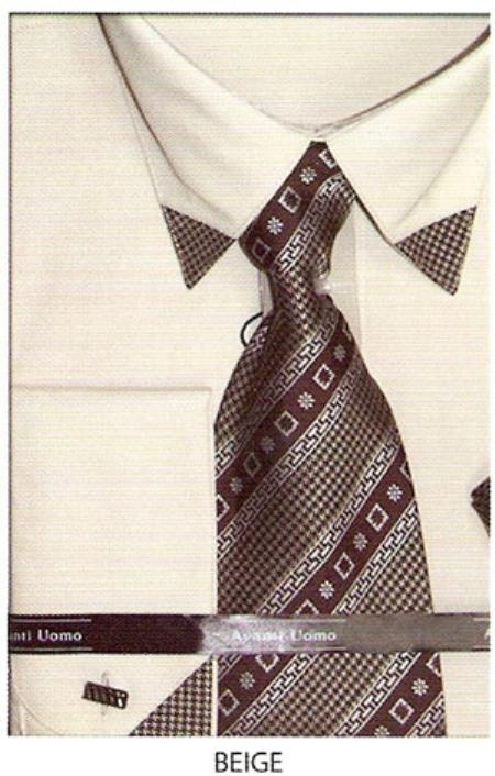SKU#UH564 Mens patched french cuff dress shirt with matching tie Beige $65
