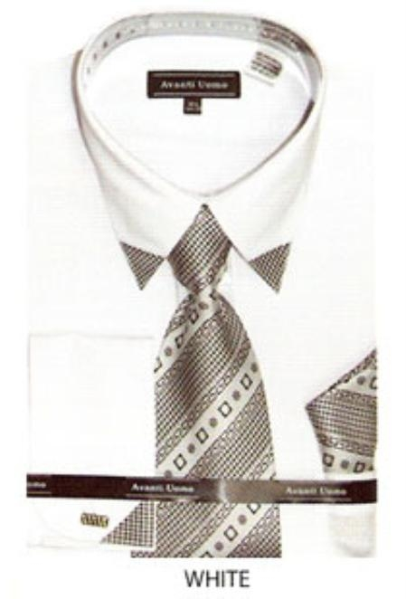 SKU#EB500 Mens patched french cuff dress shirt with matching tie White $65