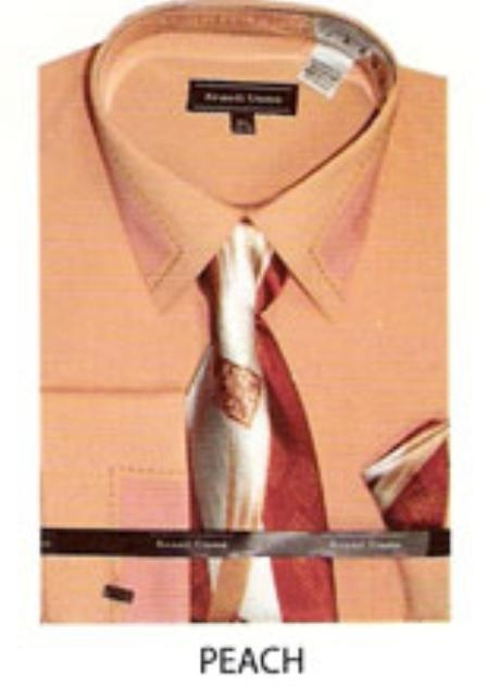 SKU#KX561 Mens patched & stitched french cuff dress shirt Peach $65
