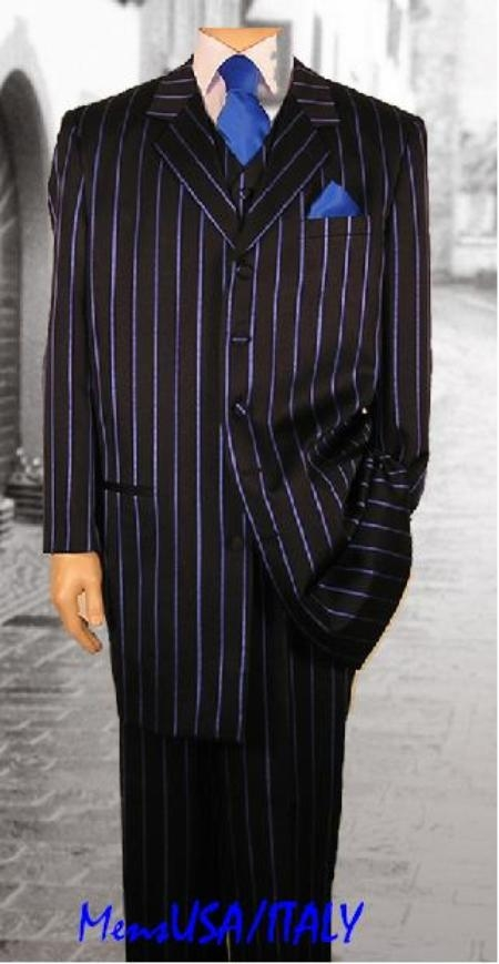 SKU# IDI302 Mens premier quality italian fabric Black & Blue (Light Blue Stripe) Pinstripe Dress Fashion Zoot Suit $139