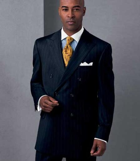 SKU# NGR830 Mens premier quality italian fabric Classic Signature Double Breasted Wool Suits in Navy Pinstripe