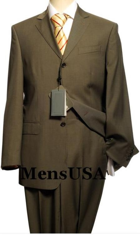 SKU# FRL461 Mens premier quality italian fabric Exclusive Greener than olive Business 3 Buttoms Super 150s $175