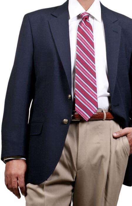 SKU#VP0481 Menss Navy Two Button Blazer (Men + Women)