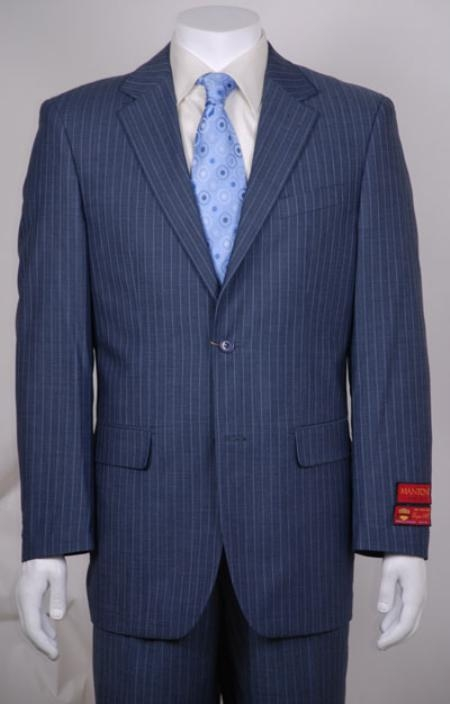SKU#WA313 Mens suit Blue Stripe 2 Button Non Pleated Pants Wool $199