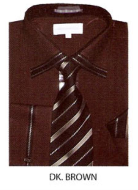 SKU#GD534 Mens trimmed french cuff dress shirt Dark Brown $65