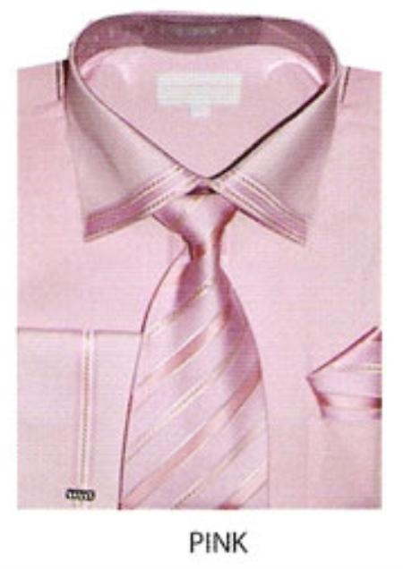 SKU#OZ424 Mens trimmed french cuff dress shirt Pink $65