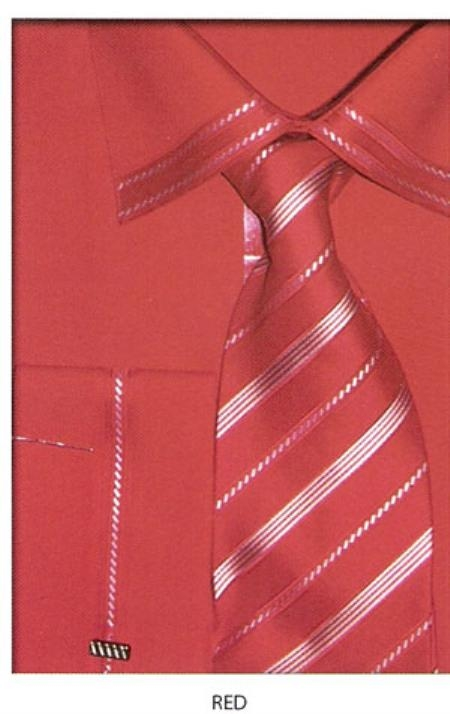 SKU#YN554 Mens trimmed french cuff dress shirt Red $65